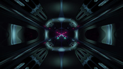 futuristic science-fiction alien style tunnel corridor 3d illustration vj loop Animation
