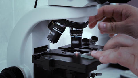 Man's hand laboratory scientist set glass slide in the microscope for analysis Live Action