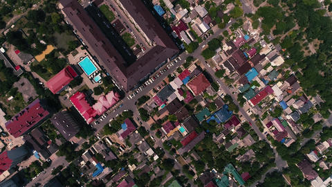 Aerial Video. The drone hovered over a large resort town.... Stock Video Footage