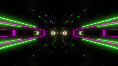 futuristic science-fiction lights glowing tunnel corridor 3d illustration vj Animation