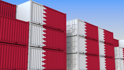 Container terminal full of containers with flag of Bahrain. Bahraini export or Live Action
