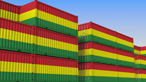 Container terminal full of containers with flag of Bolivia. Bolivian export or Live Action