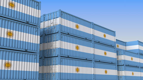 Container terminal full of containers with flag of Argentina. Argentinean export Live Action
