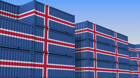 Container terminal full of containers with flag of Iceland. Icelandic export or Live Action