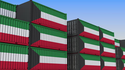 Container terminal full of containers with flag of Kuwait. Kuwaiti export or Live Action
