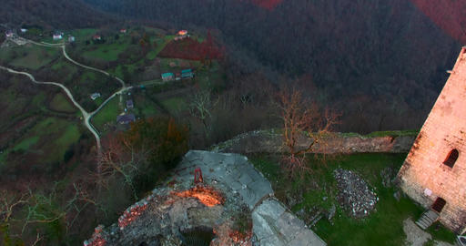 Aerial overview of Anakopia fortress. New Athos, Abkhazia Live Action