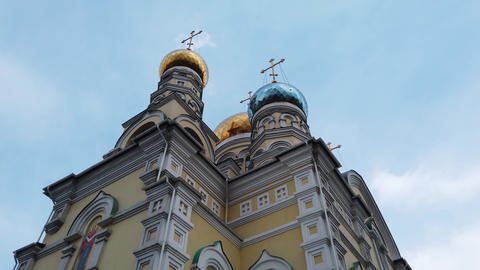The architecture of the intercession Church against the blue sky Live Action
