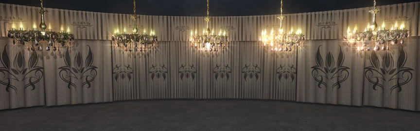White Curtains Stage With Chandeliers Animation