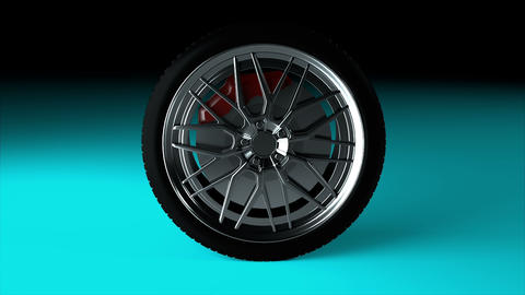 Modern and shiny car wheel on the surface, stylish object, 3d rendering computer Footage