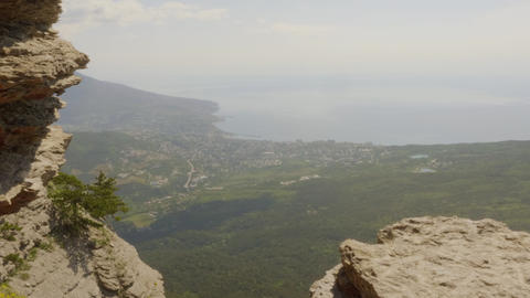 Amazing view mountain peak on sea shore on horizon. Scenic landscape from high Live Action