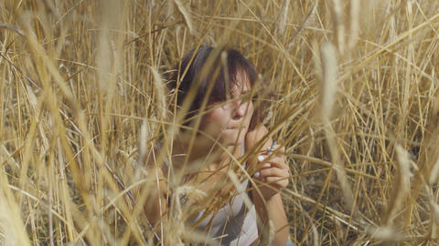 Graceful fashion woman with short hair smoking cigarette sitting among the wheat Footage