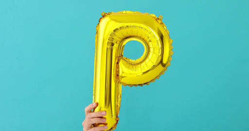 Gold foil letter P celebration balloon Footage