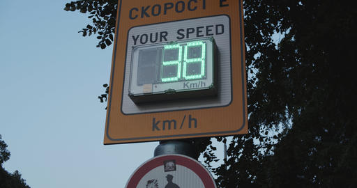 Street meeter display monitoring speed of passing cars and vehicles Footage