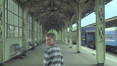 Teenager Boy At Train Station Footage