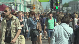 Crowd Of People Walking On Busy City Street Footage