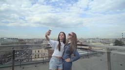 Beautiful Girls Taking A Selfie On The Roof Footage