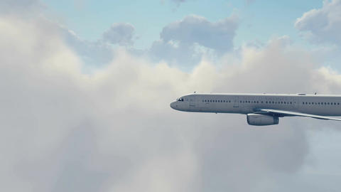 Passenger airplane high in cloudy sky 4K Footage