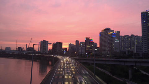 Seogang bridge, Seoul, Korea sunset Stock Video Footage