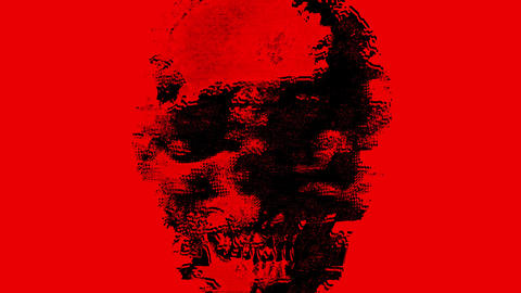 Red Human Skull Glitch Saturated Noise Background Animation