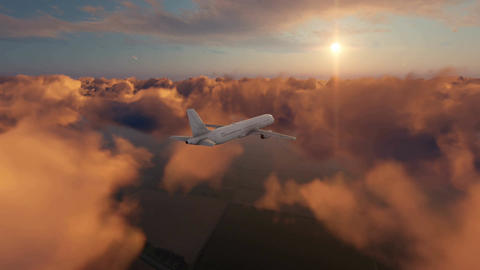 Passenger airplane in sunset sky 4K Footage