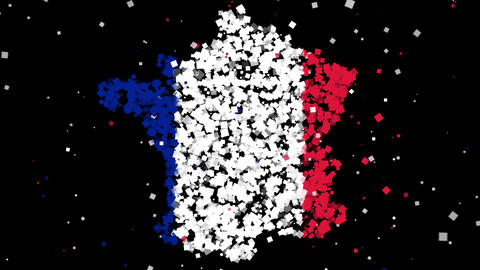 Map and flag of France Animation