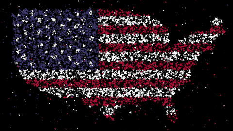 Map and flag of United States of America Animation