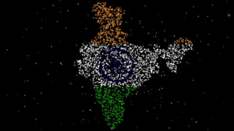 Map and flag of India Animation