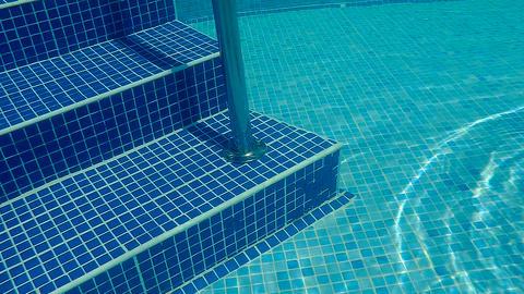 Underwater swimming pool staircase Footage