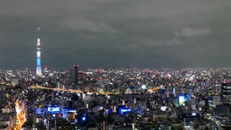 Motion (pan) timelapse of city lights surrounding the Tokyo Skytree GIF