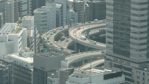 Elevated zoom in shot of the congested Hakozaki Junction Footage