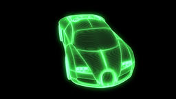 Racing Car Hologram Wireframe Animation