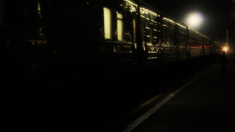Night train starts to move and leaves Footage