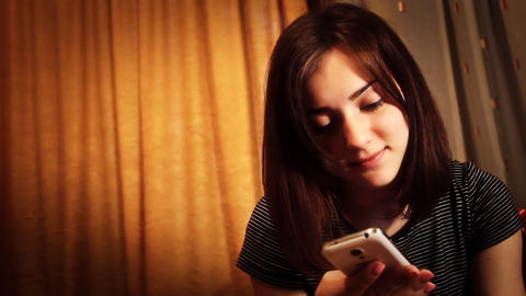 Girl communicates with your phone Footage