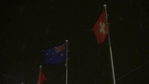 Australian And Swiss Flags Footage