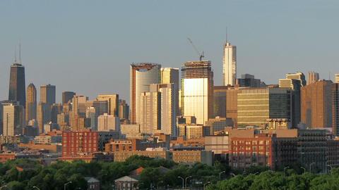 Golden Chicago Skyline Lapse at Sunset Footage