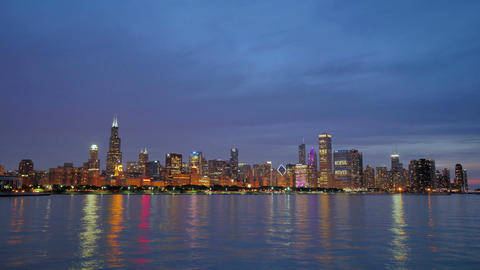 Chicago Skyline Reflected on the Lake at Sunset Footage