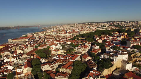 Panoramic view of old Lisbon and Tagus river at morning aerial view Footage