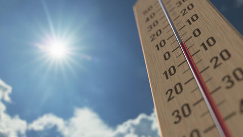 Outdoor thermometer reaches 30 thirty degrees centigrade. Weather forecast Live Action