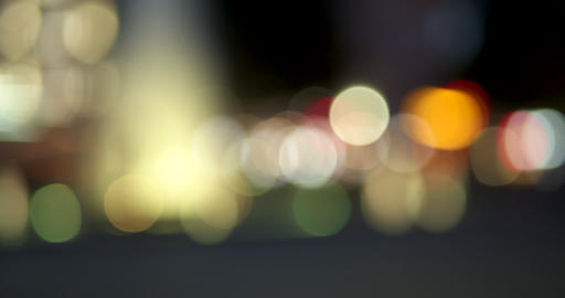 Out of focus lights circles at night - blurry bokeh - night life concept Live Action