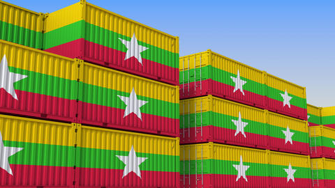 Container yard full of containers with flag of Myanmar. Myanma export or import Live Action