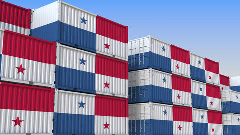 Container yard full of containers with flag of Panama. Panamian export or import Live Action