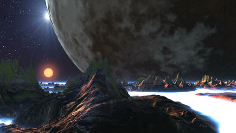 Giant Moon and Two Suns over Alien Planet GIF