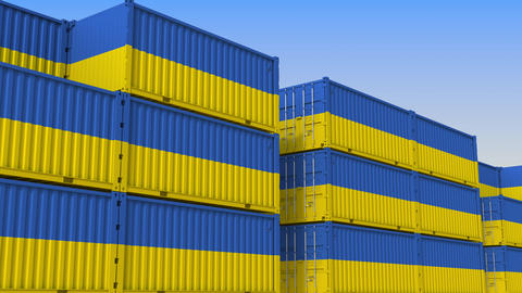 Container yard full of containers with flag of Ukraine. Ukrainian export or Live Action