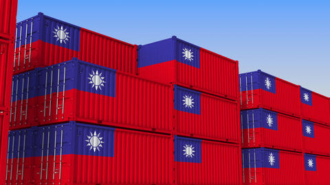 Container terminal full of containers with flag of Taiwan. Taiwanese export or Live Action