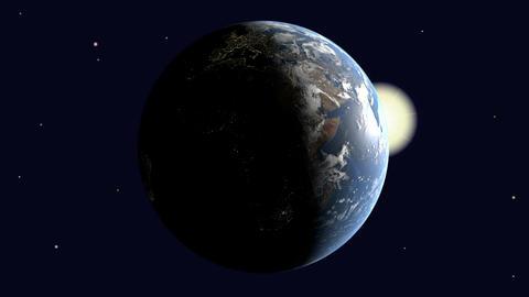 The earth illuminated by the sun rotates Animation