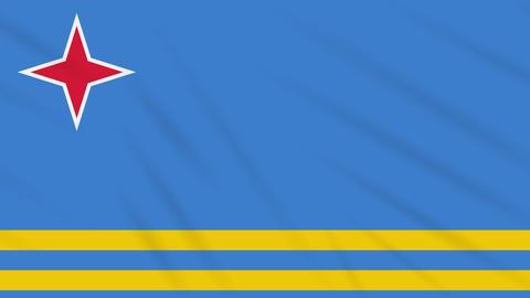Aruba flag waving cloth background, loop Animation