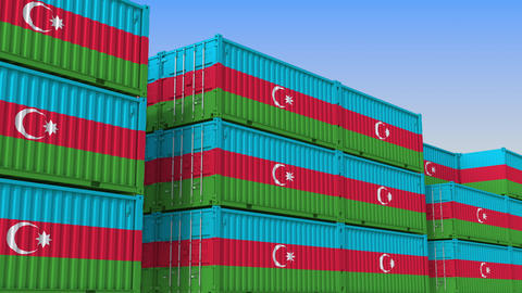 Container yard full of containers with flag of Azerbaijan. Azerbaijani export or Live Action