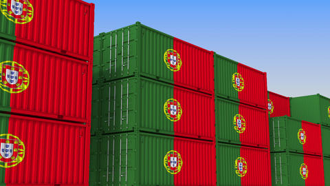 Container yard full of containers with flag of Portugal. Portuguese export or Live Action