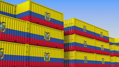 Container yard full of containers with flag of Ecuador. Ecuadorian export or Live Action