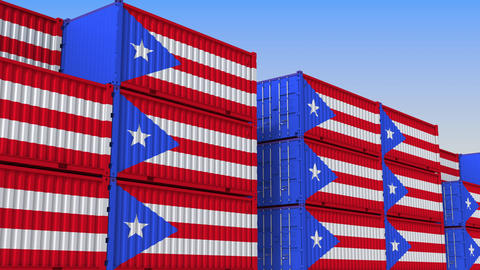 Container yard full of containers with flag of Puerto Rico. Export or import Live Action